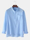 Mens Solid Color Cotton Linen Stand Collar Long Sleeve Henley Shirts With Pocket - Blue