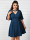 Solid Chocker V-neck Plus Size Casual Dress for Women - Navy