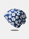 Women Dual-use Cotton Overlay Calico Pattern Printed Elastic Casual Scarf Beanie Hat - Blue