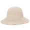 Womens Foldable Hollow Solid Bucket Cap Wild Breathable Outdoor Travel Sun Straw Hat - Beige