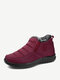 Women Snow Boots Casual Stitching Waterproof Cloth Warm Ankle Cotton Boots - Red