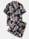 Plus Size Women Tropical Fruit & Leaf Print Revere Collar Casual Pajama Sets - Navy