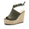LOSTISY Peep Toe Solid Color Lace Up Casual Espadrilles Wedges Sandals - Green