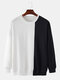 Mens Contrast Patchwork Cotton Relaxed Fit Round Neck Sweatshirts - Black