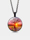 Vintage Glass Printed Women Necklace Goddess Pendant Necklace Jewelry Gift - Black