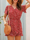 Floral Print Ruffle Design V-Neck Short Sleeve Back Button Casual Romper - Wine Red
