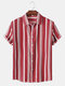 Mens Striped Lapel Button Up Casual Short Sleeve Shirt - Red