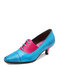 Socofy Retro Floral Print Elegant Leather Color Block Pointed Toe Cone Heel Business Shoes Lace Up Low Heel Pumps - Blue