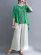 Floral Embroidery Buckle High-low Hem Top & Pants Ethnic Suit - Green