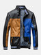 Mens Colorblock Patchwork PU Leather Zip Front Lapel Collar Thicken Jackets - Khaki