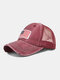 Unisex Washed Distressed Cotton Mesh Patchwork American Flag Pattern Embroidery Broken Hole Baseball Caps - Wine Red