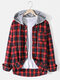 Mens Cotton Plaid Button Up Long Sleeve Casual Drawstring Hooded Shirts - Red