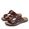 Men Double Buckle Strap Comfy Soft Sole Casual Outdoor Water Slippers - Wine Red