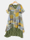 Print Patchwork Short Sleeve Plus Size Summer Dress with Pockets - Green