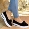 Large Size Women Casual Round Toe Suede Bow Slip On Platform Loafers - Black