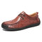 Large Size Men Microfiber Leather Non-slip Soft Sole Casual Driving Shoes - Red Brown