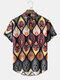 Mens Tribal Graphics Short Sleeve Curved Hem Holiday Henley Shirt - Black