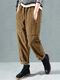 Solid Color Side Pockets Elastic Waist Corduroy Pants - Khaki