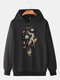 Mens Hot Air Balloon Graphic Print Cotton Relaxed Fit Drawstring Pullover Hoodies - Black