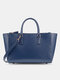 Casual Multifunction Exquisite Hardware Fine Texture Fabric Handbag Tote With Inner Card Pocket - Blue