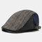 Men Knit Leather Contrast Color Adjustable Stripe Pattern Casual Outdoor Beret Hat - Black