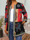 Vintage Print Webbing Patchwork Plus Size Jackets - Red