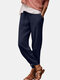 Solid Color Drawstring Casual Cotton Pants For Women - Navy