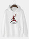 Mens 100% Cotton Funny Santa Claus Print Solid Color Drawstring Hoodie - White