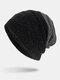 मेन विंटर Plus मखमली धारीदार पैटर्न आउटडोर लंबे बुना हुआ गर्म बेनी टोपी - काली