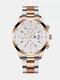 Alloy Steel Band Business Calendar Men Casual Fashion Quartz Watch - White+Rose