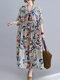 Abito vintage da donna allentato con scollo a mezza manica con stampa floreale - bianca