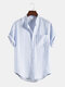Mens Striped Cotton Chest Pocket Casual Short Sleeve Shirts - Light Blue