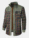 Mens Plaid Patchwork 100 % Cotton Fleece Lined Thick Lapel Reversible Jackets - Dark Green