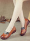 Large Size Women Comfy Round Toe Leather Single Flat Shoes - Brown
