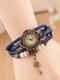 Vintage Multilayer Women Quartz Watch Key Pendant Leather Bracelet Watch - Blue