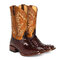 Women Large Size Slip-On Ethnic Pattern Dot Mid-calf Cowboy Boots - Brown