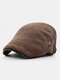 Men Woolen Autumn And Winter Knitting Contrast Color Warm Forward Hat Flat Hat - Coffee