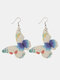 Floral Butterfly Drop Dangle Earrings Fashion Insect Double-sided Printing Leather Jewelry - #10