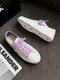 Women Casual Fantasy Butterfly Embroidery Antiskid Flat Canvas Shoes - White