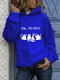 White Cat Print Long Sleeves Casual Hoodies for Women - Blue