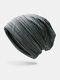 Women & Men Striped Warm Outdoor Solid Color Casual Personality Brimless Beanie Hat - Dark Green