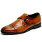 Men Business Metal Buckle Non Slip Soft Leather Dress Shoes - Brown