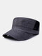 Men Linen Solid Color Casual Outdoor Sunshade Military Hat Flat Hat Peaked Cap - Black