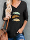 Feather Printed V-neck Long Sleeve Casual Women T-Shirt - Black
