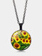 Vintage Landscape Printed Women Necklace Sunflower Pendant Clavicle Chain - Black