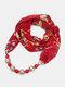Vintage Chiffon Women Scarf Necklace Beaded Pendant Lattice Flowers Pattern Silk Scarf - #12