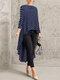 Print Polka Dot High Low Long Sleeve Plus Size Blouse - Blue