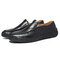 Large Size Men Hand Stitching Soft Slip On Casual Leather Shoes - Black