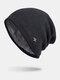 Men Winter Plus Velvet Striped Pattern Outdoor Knitted Warm Beanie Hat - Gray