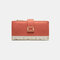Women Genuine Leather 12 Card Slots Patchwork Floral Photo Card Money Clip Coin Purse Multifunctional Wallet - Orange